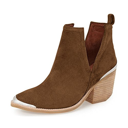 YDN Women Ankle Booties Low Heel Faux Suede Stacked Boots Cut Out Shoes with Metal Toe Dark Brown cheap sale the cheapest pictures online amazing price online teFZExv