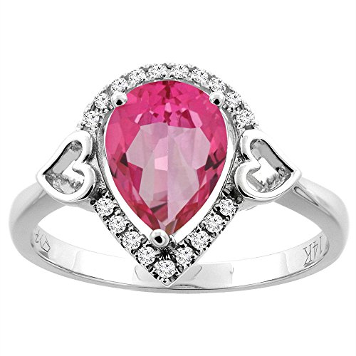 14K White Gold Natural Pink Topaz Ring Pear Shape 9x7 mm Diamond Accents, size 10
