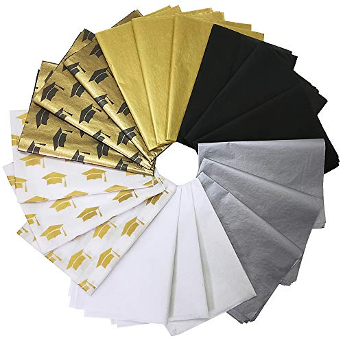 Supla 118 Sheets 6 Graduation Tissue Paper Bulk Gift Wrapping Tissue Paper Black White Metallic Gold Silver Graduation Cap Patterned Decorative Tissue Paper 20 x 14