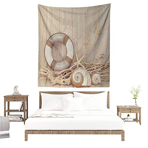 alisoso Wall Tapestries Hippie,Nautical Coastal Decor,Welcome on Board Buoy Wooden Sepia Fishnet Theme Pattern,Tan Linen Ecru Beige W51 x L60 inch Tapestry Wallpaper Home Decor