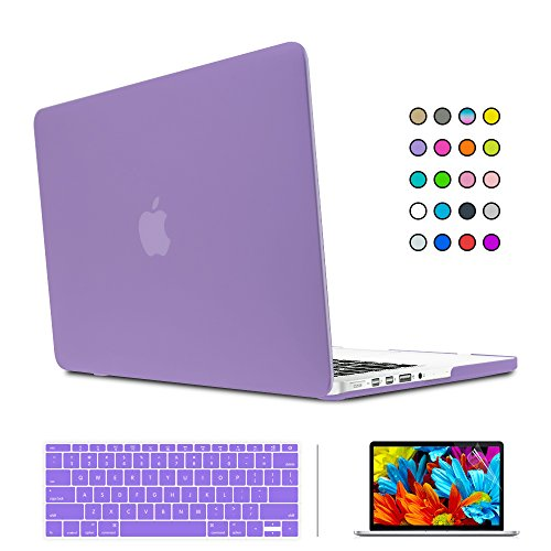 """SUNKY MacBook Newest Pro 15 Case, Soft-Touch Series Plastic Hard Case Cover + Keyboard Skin + HD Screen Protector for Macbook Pro 15-inch 15"""" 2016 Release with Touch Bar and Touch ID - Purple -  MACCASE221"""