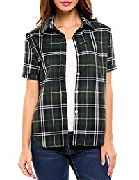 Meaneor Women Summer Short Sleeve Boyfriend Plaid Button Down Shirts