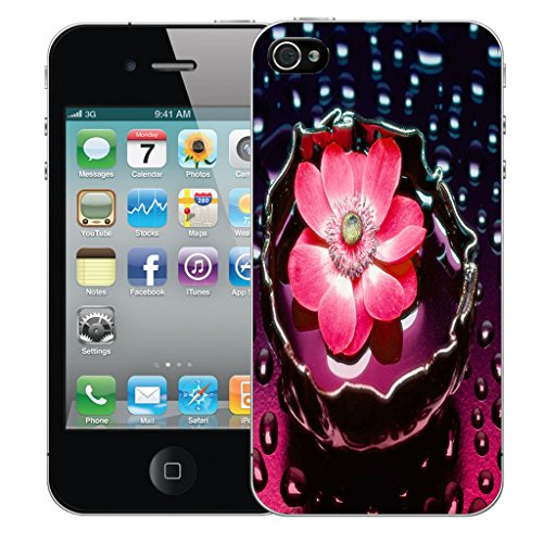 Mobile Case Mate iPhone 5c Silicone Coque couverture case cover Pare-chocs + STYLET - Pink Water Flower pattern (SILICON)