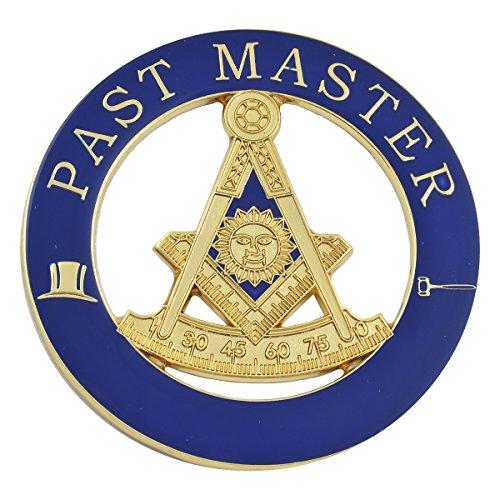 Past Master Masonic Round Blue & Gold Auto Emblem - 3