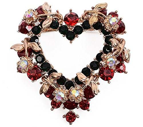 Hosaire 1X Womens Heart-Shaped Red Wreath Crystal Brooch Pin With Rhinestone,Highlights Of Christmas (Brooch Wreath)