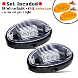 (Pack of 2) MADCATZ 6.3 Inch Oval Cool White 24 LED Black Base Clear & Amber Lenses Exterior Porch Light with On/Off Switch RV Camper Trailer Cabin Motorhome Caravan 12V DC Utility Lamp TQ-B