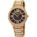 Burgi BUR185 Women's Quartz Black Mother of Pearl Dial Crystal Encrusted Gold-Tone Bracelet Watch (Yellow Gold)
