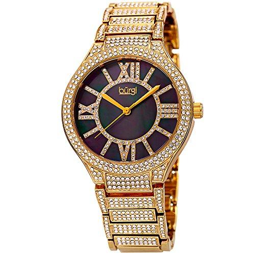 Black Gold Dial Diamond (Burgi BUR185 Women's Quartz Black Mother of Pearl Dial Crystal Encrusted Gold-Tone Bracelet Watch (Yellow Gold))