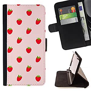 DEVIL CASE - FOR LG OPTIMUS L90 - Strawberries Red Berries Wallpaper Fresh Food - Style PU Leather Case Wallet Flip Stand Flap Closure Cover