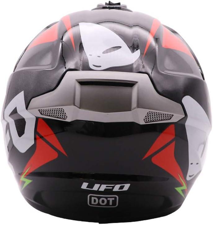 Caschi da Bici da Strada per Esterno Full Face ATV//MX Offroad Motocross per Adulti Casco da Moto Casco da Moto Guanti, Occhiali, Maschera, Set da 4 Pezzi ,UFO,S