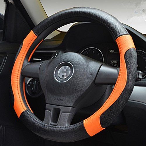 (Moyishi Top Leather Steering Wheel Cover Universal Fit Soft Breathable Steering Wheel Wrap (Orange))