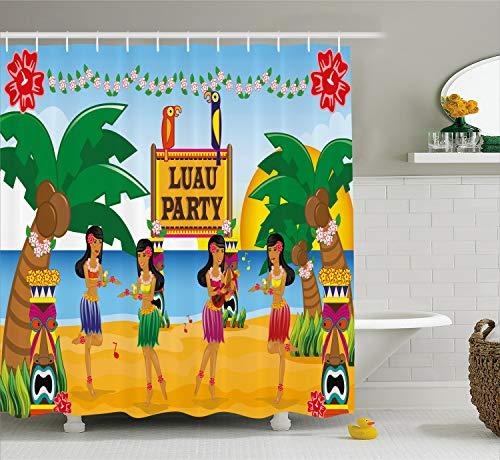 Ambesonne Tiki Bar Decor Shower Curtain, Hawaiian Luau Party in Cartoon Style Dancers on Beach Festive Tradition, Fabric Bathroom Decor Set with Hooks, 75 inches Long, Blue Green ()