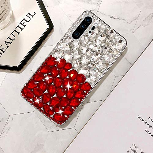 Soft TPU Frame Protective Case for Huawei P30 Pro Mistars Luxury 3D Handmade Sparkle Glitter Crystal Rhinestone Hard PC Back Cover Bling Diamond Case for Huawei P30 Pro Red