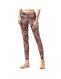 KSUA Womens Printed Yoga Leggings High Waist Tummy Control Over Yoga Pants Full-Length Workout Leggings