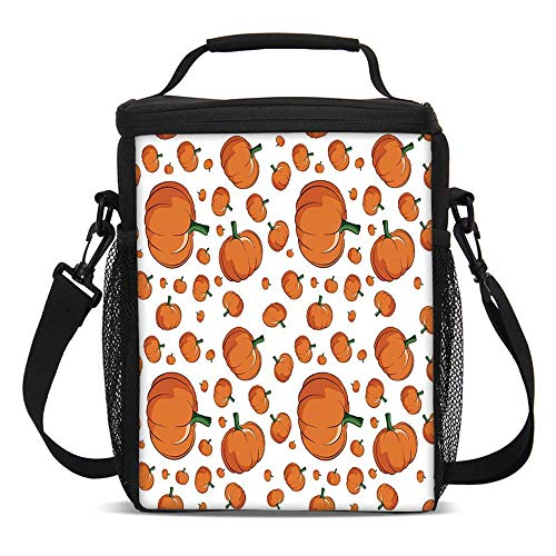 Harvest Fashionable Lunch Bag,Halloween Inspired Pattern Vivid Cartoon Style Plump Pumpkins Vegetable Decorative for Travel Picnic,One size ()