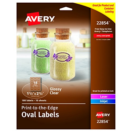 Avery Print-to-the-Edge Glossy Clear Oval Labels,1-1/2