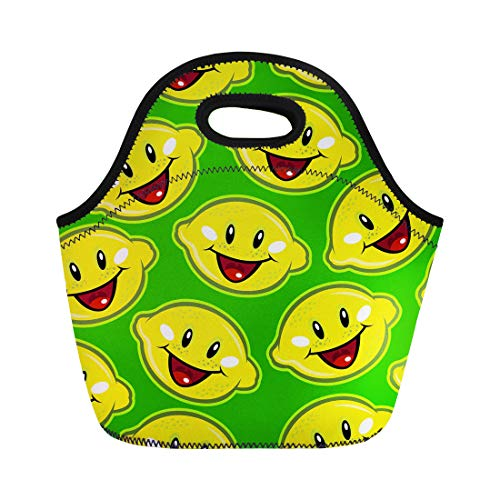 (Semtomn Neoprene Lunch Tote Bag Green Acid Happy Lemons Yellow Adorable Cartoon Character Citric Reusable Cooler Bags Insulated Thermal Picnic Handbag for Travel,School,Outdoors,)