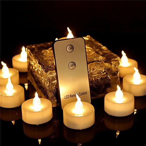 Beauty Collector 12pcs Tea Lights Eco Friendly with Remote Flameless Led Votives Battery Operated Flickering Warm White Candles for Halloween Decoration Holiday Party