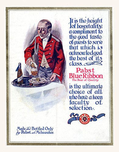 Pabst Blue Ribbon Beer Advertisement from 1911, Early 1900's Photo Print, 8''x10'' Photo Print