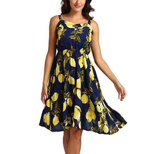 Women's Lemon Print Ruffles Dress, E-Scenery Summer Casual Sleeveless Summer Mini Dresses (Navy, Medium) ()