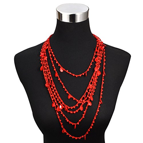 8 color Bohemia style beads pendant Choker necklace ethnic Fashion jewelry multilayer Rope chain statement necklace for women (5) (Long A Berger Baskets)