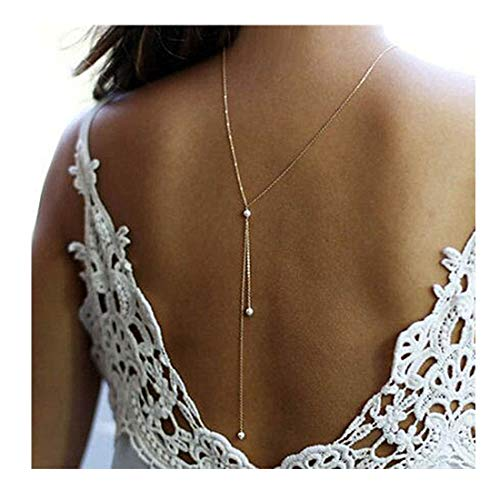 - LittleB Back Necklace Backdrop Pearls Body Chain for women. (Gold)