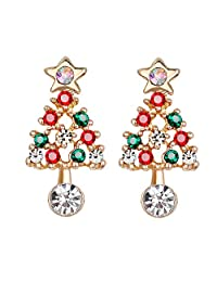 Houlife Gold Plated Sparkling Christmas Tree Drop Dangle Earring Stud With Shiny Colorful Rhinestone Cute Holiday Gift Lovely New Year Xmas Jewelry for Women Girls Wife Daughter Teen Kids