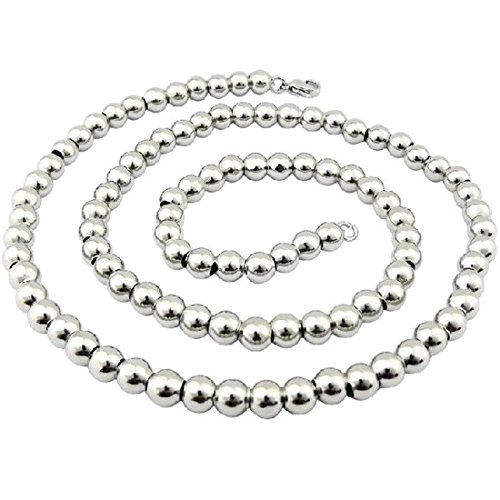 "Jewelry Kingdom 1 Handmade 16-40"" Stainless Steel Round Ball Chain Necklace Silver 8mm (24)"
