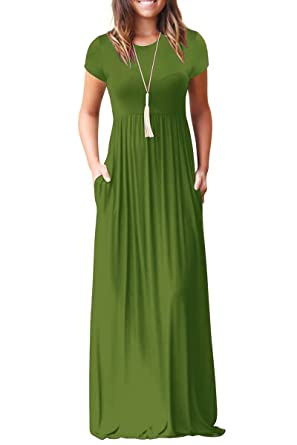 ae66a1fb70 roswear Women's Summer Casual Round Neck Ruched Short Sleeve Maxi Dress  with Pockets Army Green Small