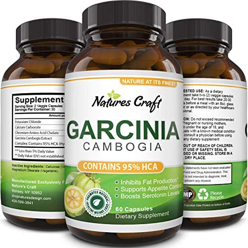 Garcinia Cambogia with 95 HCA Weight Loss Supplement – Best Fast Acting Fat Burner and Natural Carb Blocker Diet Pills – Pure Garcinia Extract Appetite Suppressant for Men Women