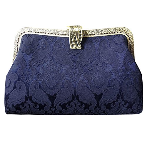 Castle Fairy Women's Vintage Handmade Floral Cloth Clutch Handbag Purse with Detachable Chain Navy Blue B