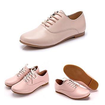 LIANGHUA Zapatos De Mujer Spring Mujeres Oxford Zapatos Bailarina Zapatos Planos Mujeres Cuero Genuino Zapatos Mocasines Lace Up Mocasines Zapatos Blancos, ...