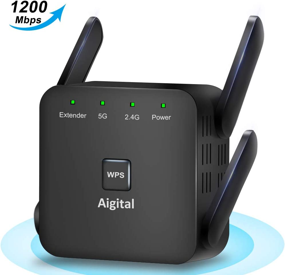Aigital WiFi Range Extender 5GHz & 2.4GHz 1200Mbps WiFi Repeater Wireless Signal Booster 360 Degree Full Coverage WiFi Signal Booster Amplifier & WPS Function for Home