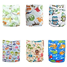 Alva Baby Pocket Washable Adjustable Reuseable Cloth Diapers Nappies 6PCS + 12 Inserts 6DM17-CA
