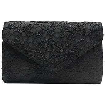 Cckuu Womens Floral Lace Envelope Clutch Handbag Shoulder Evening Shoulder Bag (Black)