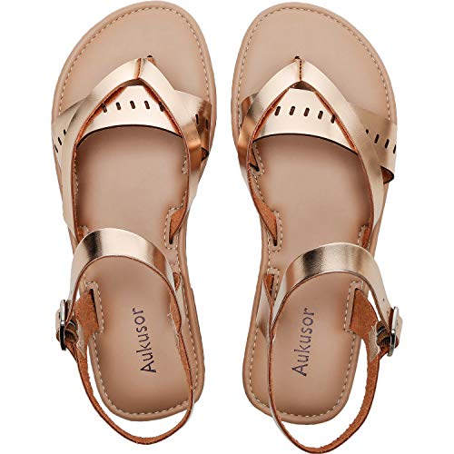 - Women's Wide Summer Flat Sandals - Open Toe One Band Ankle Strap Flexible Shoes. (181230 Gold, 7)