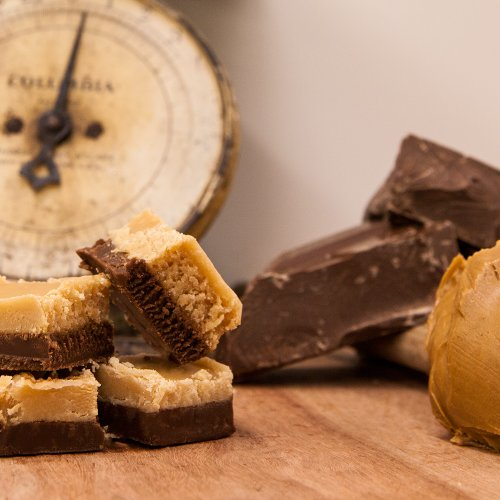 Hall's Chocolate Peanut Butter Layered Fudge, 1 Pound (Gourmet Chocolate Peanut Butter Fudge)