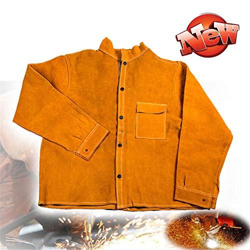 TBDLG Cowhide Leather Welding Jacket,Heat Resistant Work Wear Coat, Multifunctional with Sleeves Used in Industry, Welder, Garden, Carpenter, Workshop, Decoration, Painter, Unisex,XXL