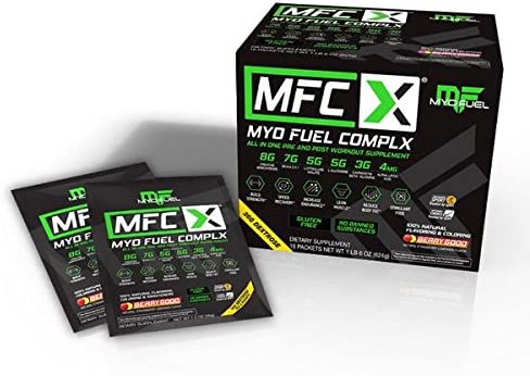 MyoFuel Complx Pre-and-Post Workout with BCAA s, Creatine, Citrulline Malate, Carnosyn Beta-Alanine, Alpha Lipoic Acid, Glutamine, Dextrose, Beet Powder – 16 Packets Per Box