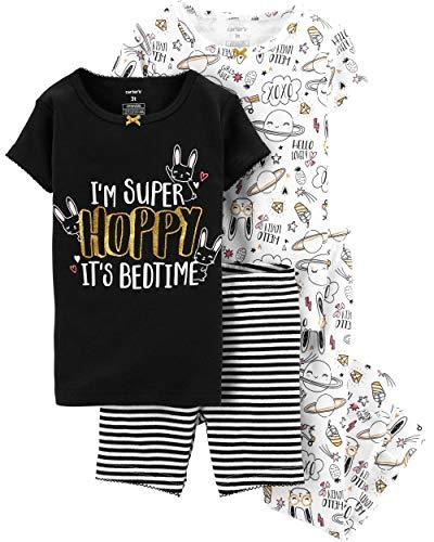 Carters Toddler Girls Snug Fit Cotton 4 Piece PJ Pajama Sets (Black/Hoppy Bedtime, 2T)
