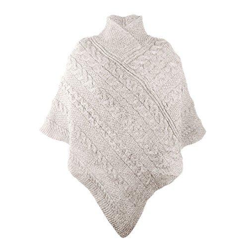 100% Irish Merino Ladies Aran Knit Poncho by West End Knitwear Parsnip,Medium-Large