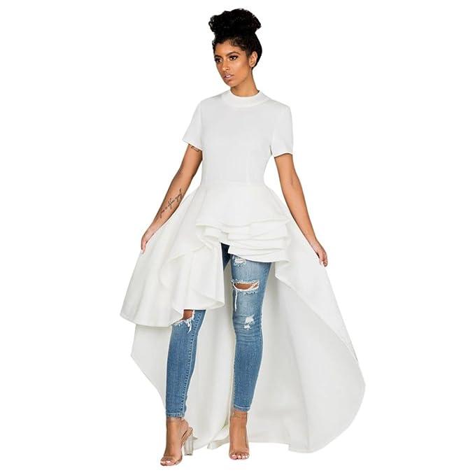 Vestido corto de manga corta para mujer Peplum alto Bodycon Vestido informal para fiesta de noche