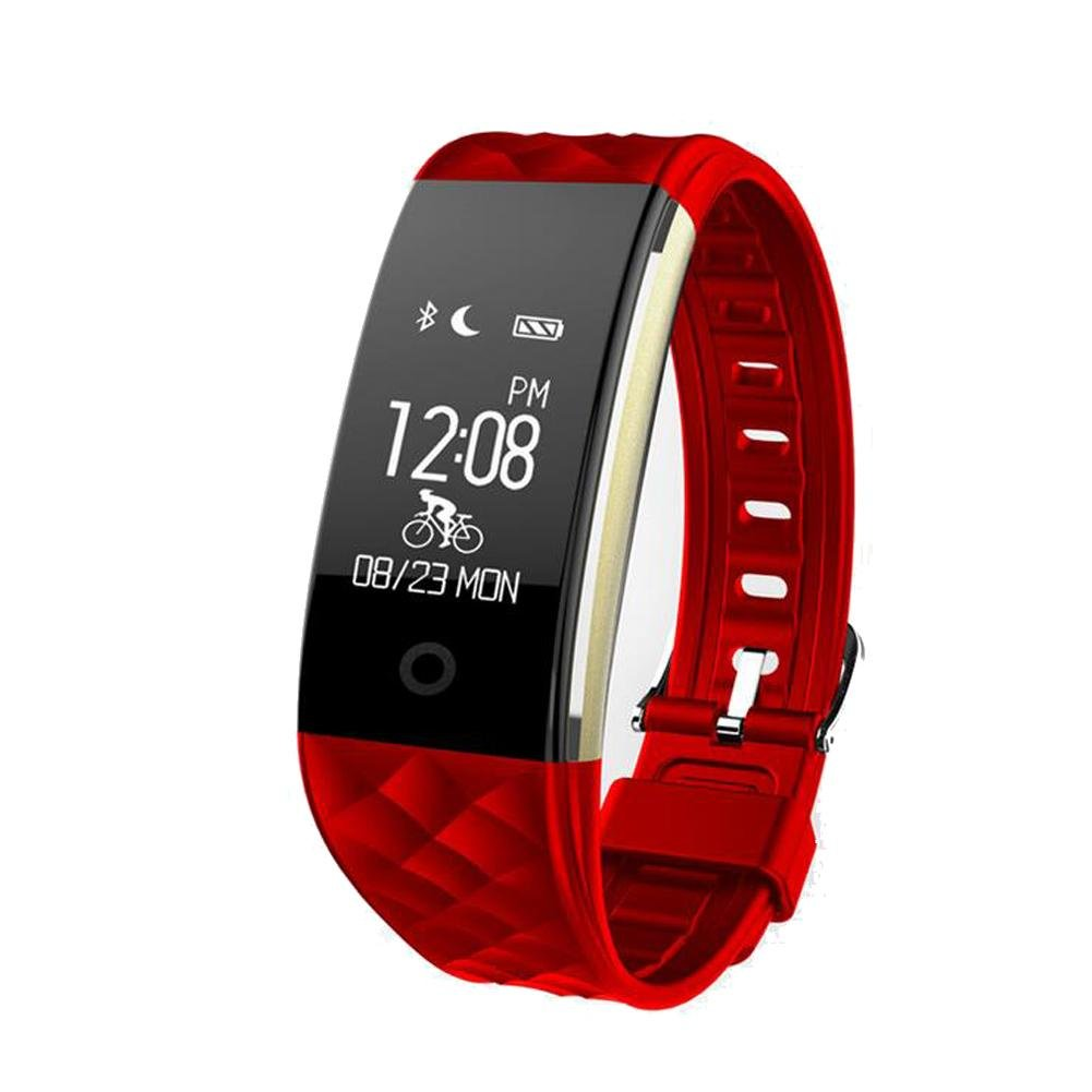 Activity Tracker Heart Rate Monitor Fitness Health Tracker Waterproof Smart Wristband Band with Pedometer Sleep Monitor Step Calorie Counter Bluetooth Bracelet for iPhone Android , Red