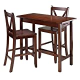 Winsome Wood 3-Piece Kitchen Island Table with 2 V-Back Stool