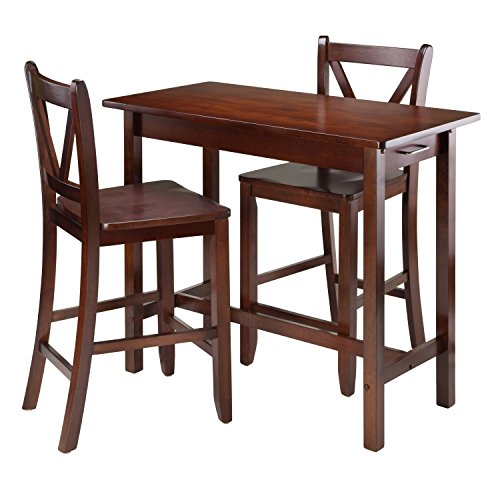 Winsome Kitchen Island Table with V-Back Stools