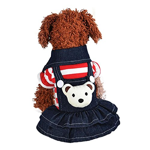 GONKOMA Puppy Dress, Pet Dog Denim Strap Pants Dress Clothes Apparels For Small Dog Cat Puppy