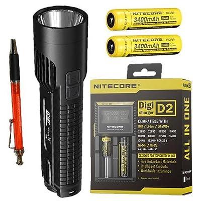 Combo: Nitecore EC4GT XP-L Hi Flashlight 1000Lm w/D2 Charger & 2x NL189 Batteries +8x FREE Premium Eco-Sensa CR123 Batteries