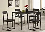 Coaster Home Furnishings 5pc Metal Dining Table Chairs Set in Deep Cappuccino Finish