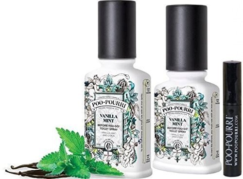 Poo-pourri 2-piece Before-you-go Toilet Spray Bottle Set, 2 and 4-ounce, Vanilla Mint with a Free 4ml Pocket Size Bottle by Poo-Pourri