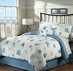 Seashells, Beach Themed, Nautical King Comforter Set BB (8 Piece Bed In A Bag)